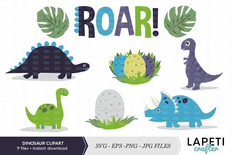 Dinosaur clipart set, SVG, PNG JPG EPS files example image 1