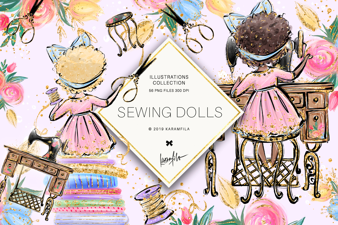 Sweing Girl Clipart example image 1
