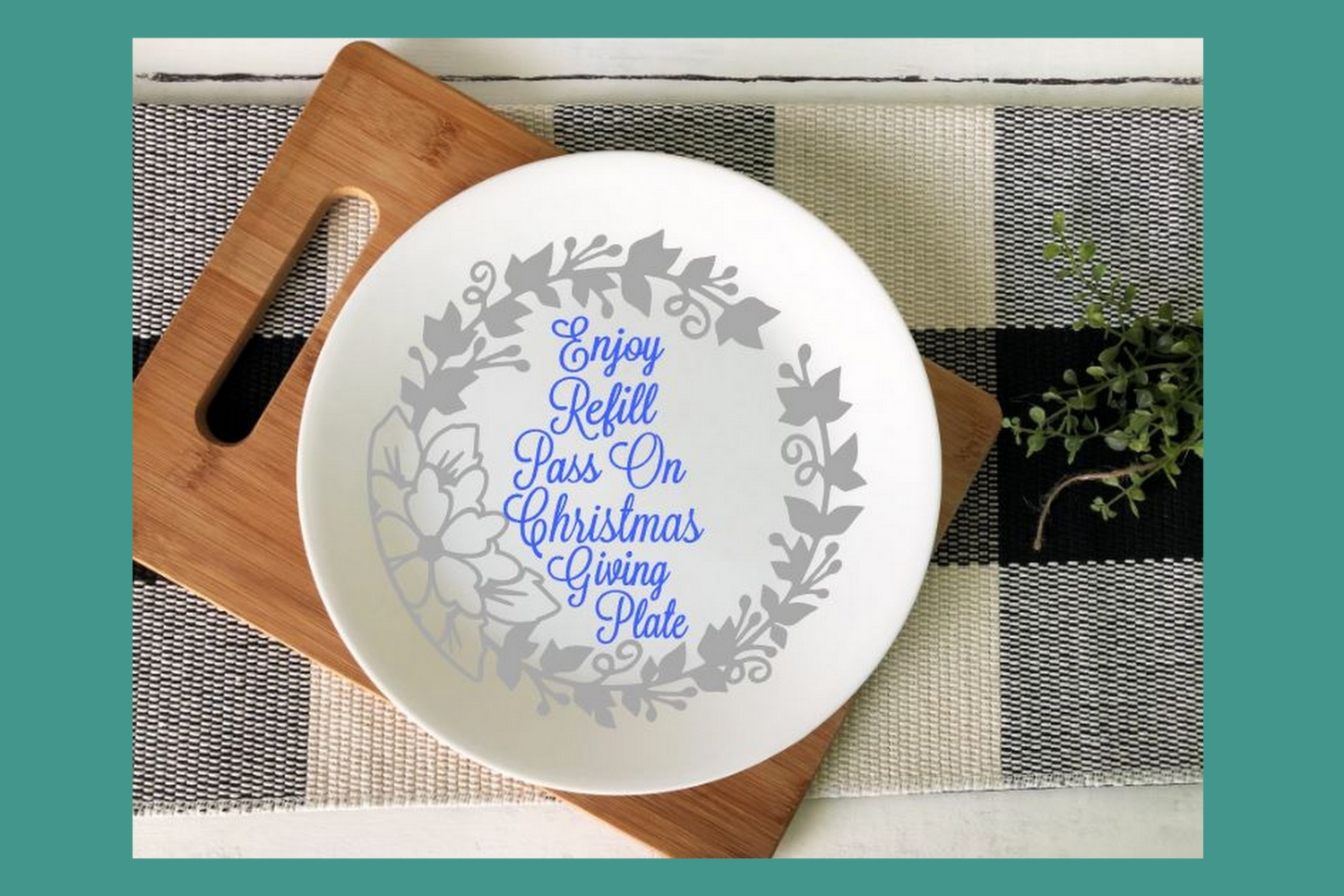 SVG Cut File Christmas Giving Plate Design #08 example image 4