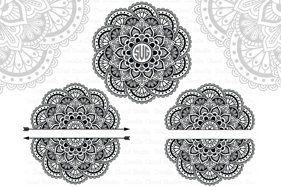 Mandala Monogram SVG, Arrow Mandala SVG, Split Mandala SVG. example image 2