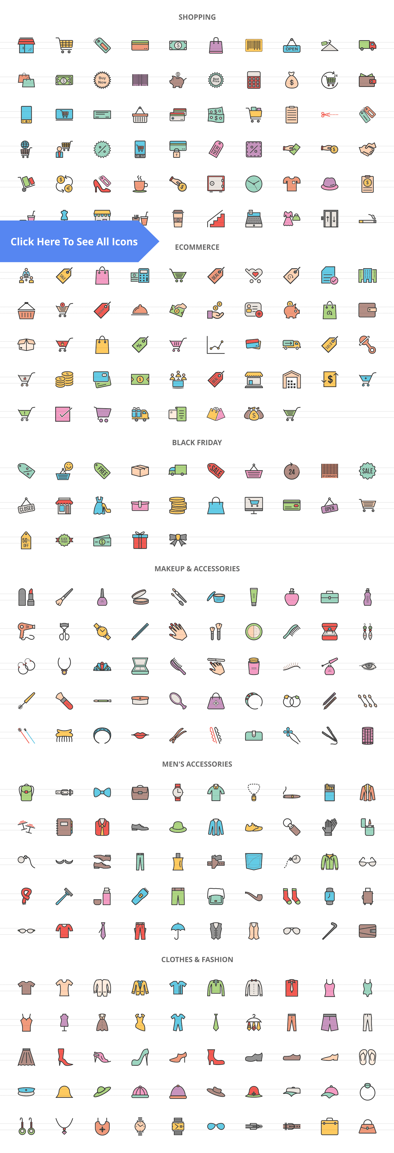 283 Shopping Filled Line Icons example image 2