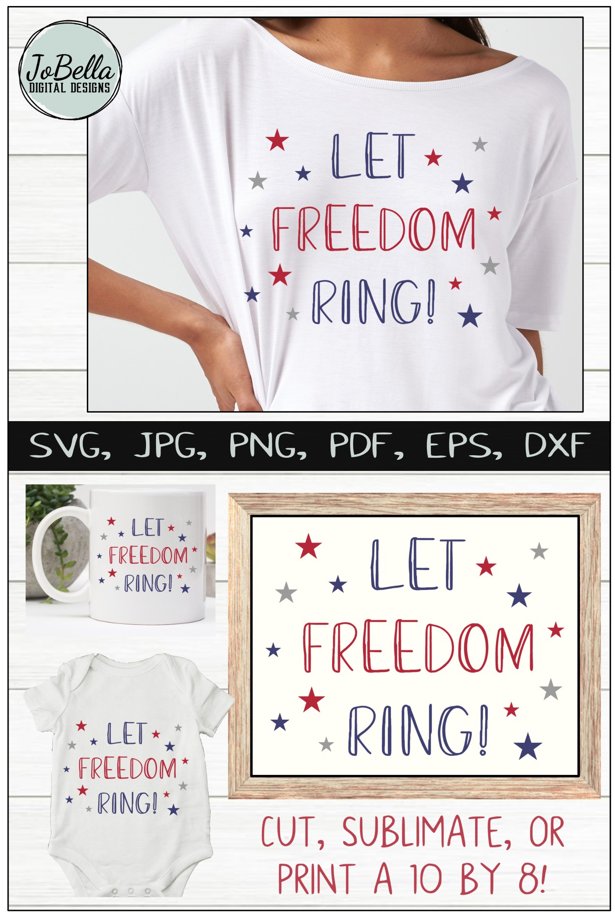 Let Freedom Ring! Fourth of July SVG & Sublimation Design example image 6