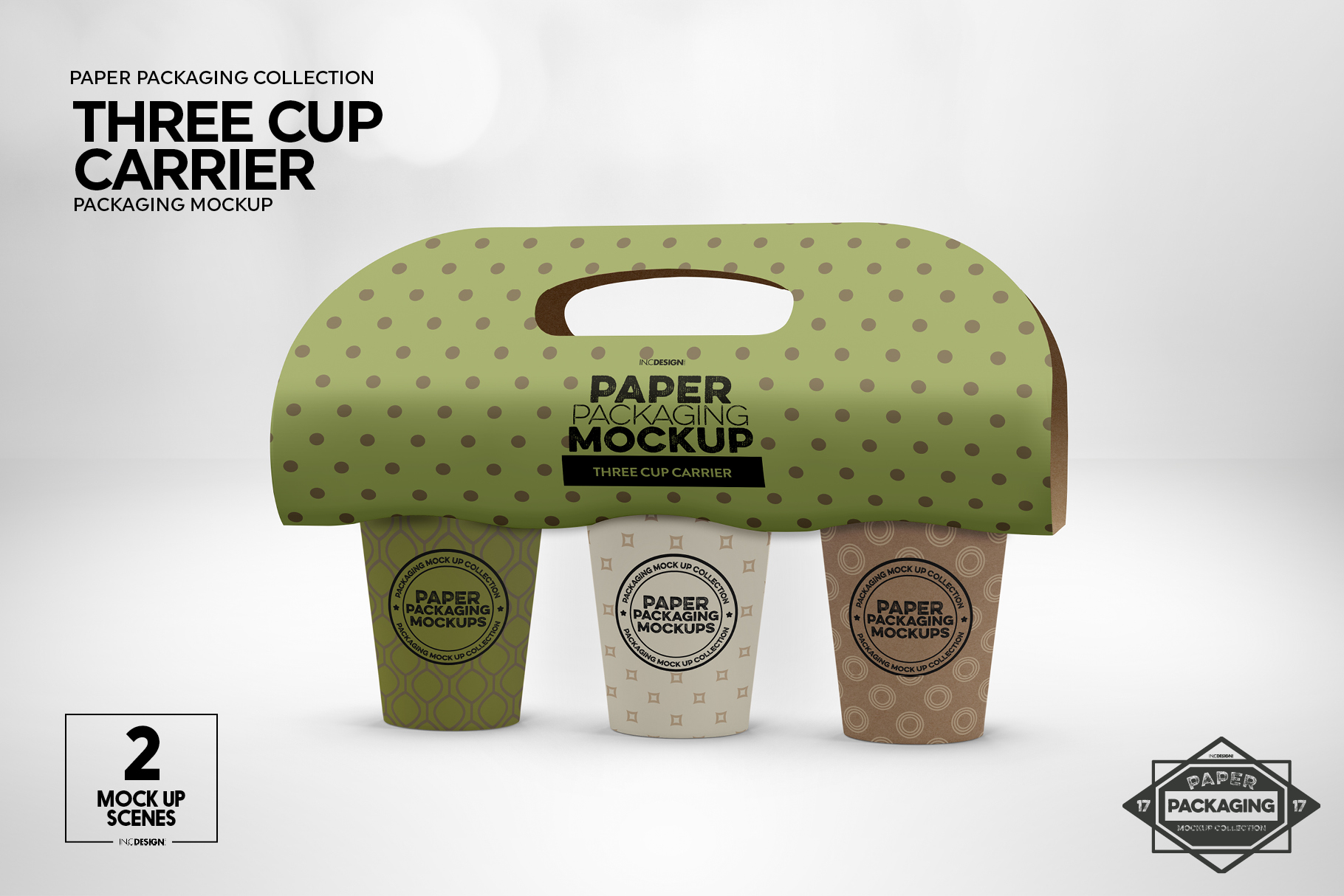 Three Cup Paper Carrier Packaging Mockup example image 2