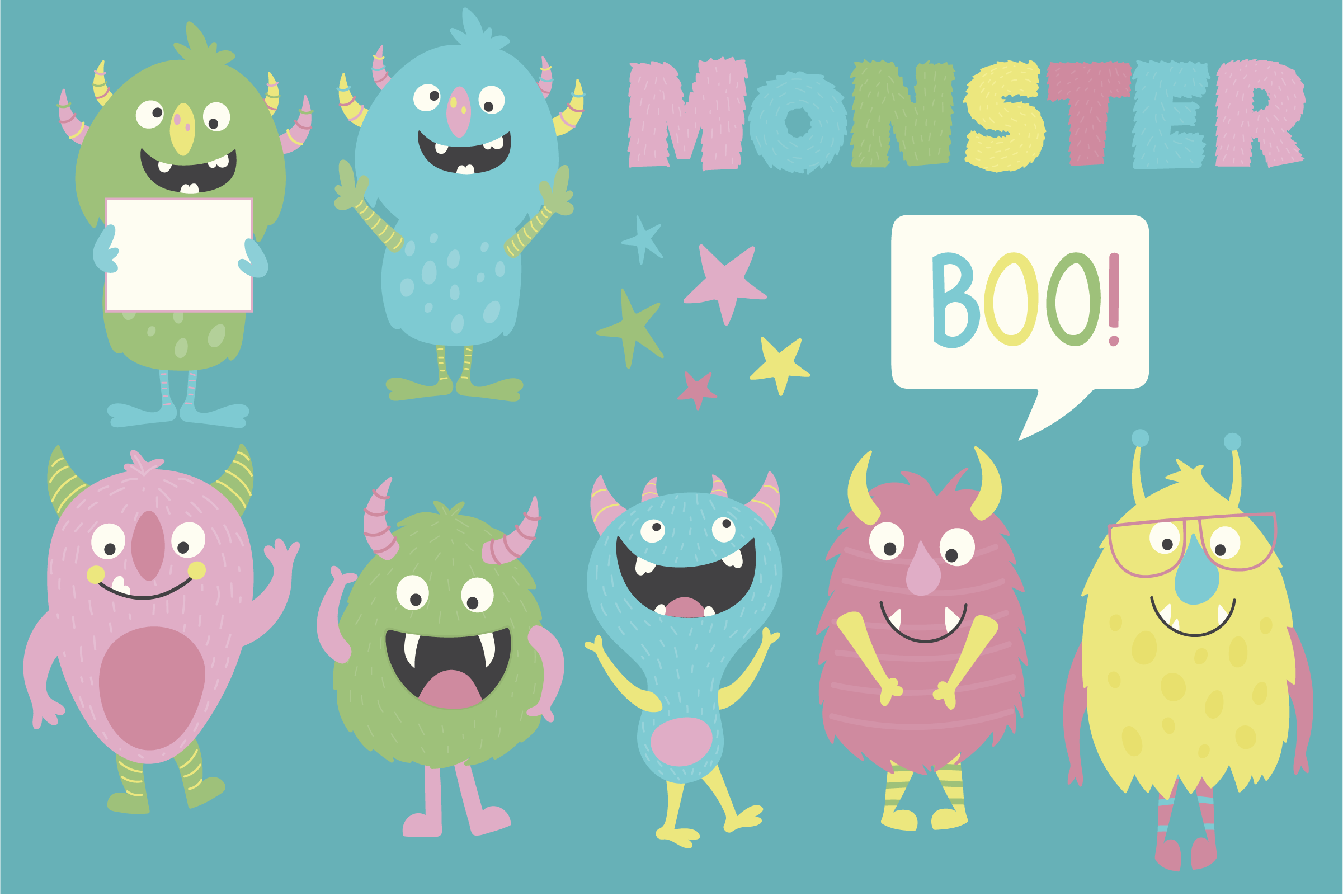 Monsters clipart and paper pack example image 2