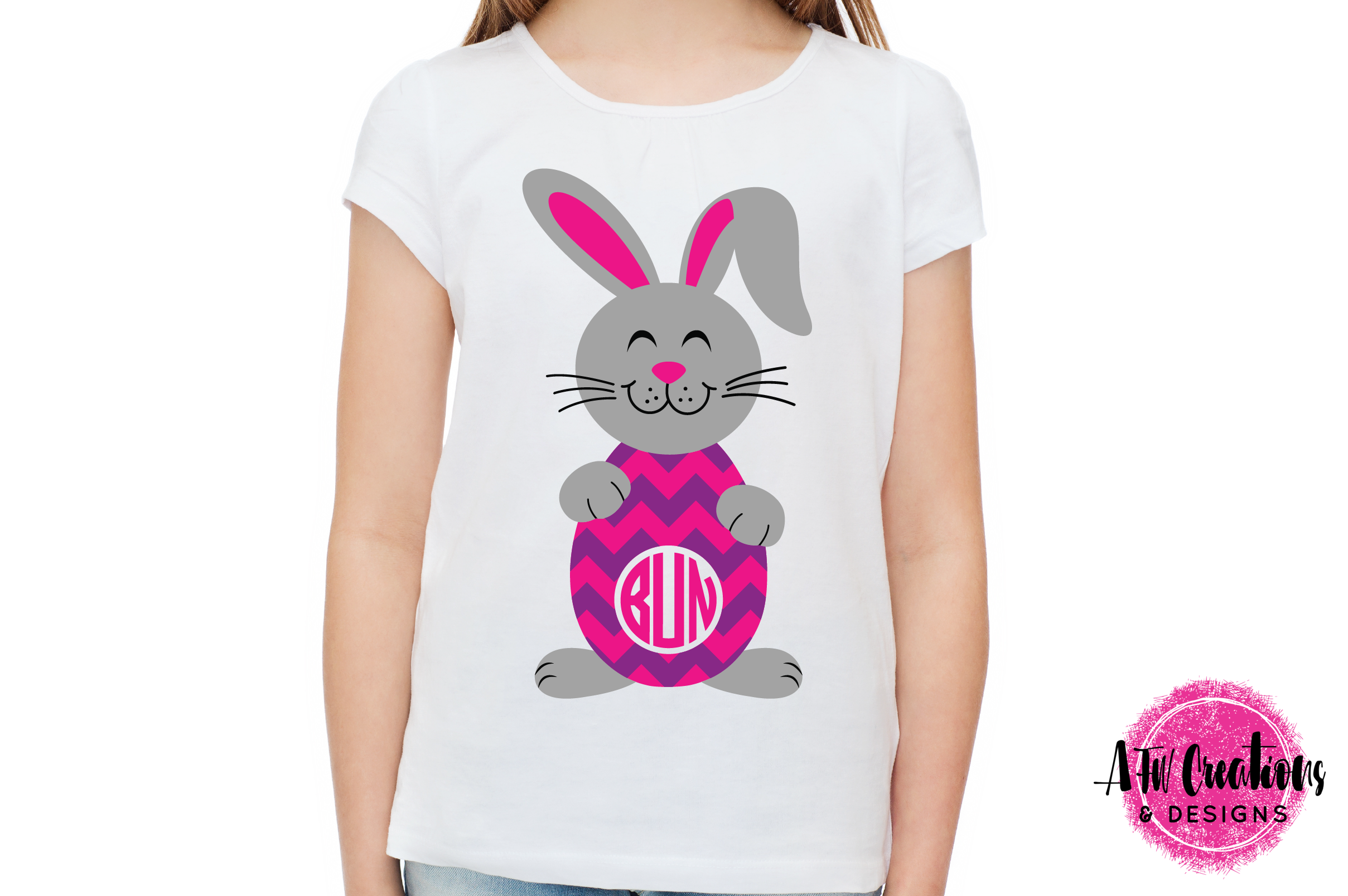 Monogram Easter Bunny Eggs- SVG, DXF, EPS Cut Files example image 2