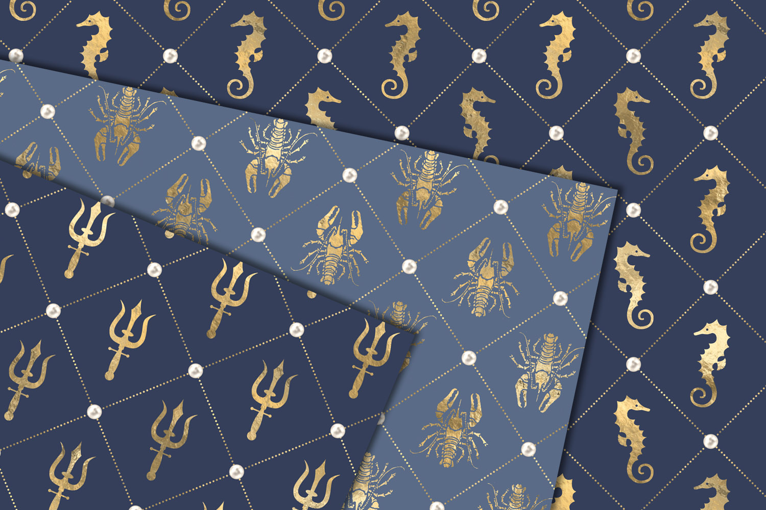Blue and Gold Nautical Digital Paper example image 2
