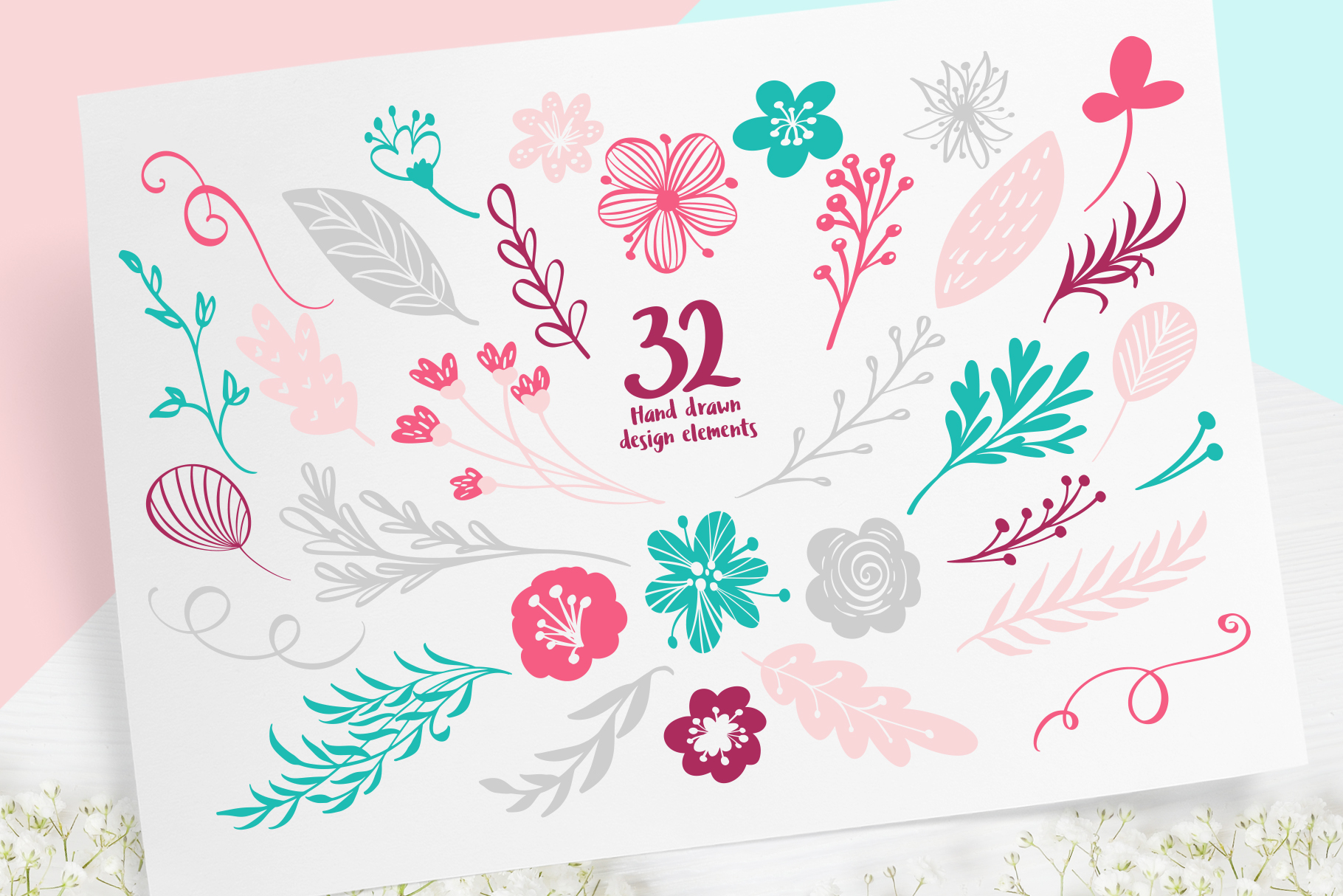 Spring vector lettering & floral greeting card example image 9