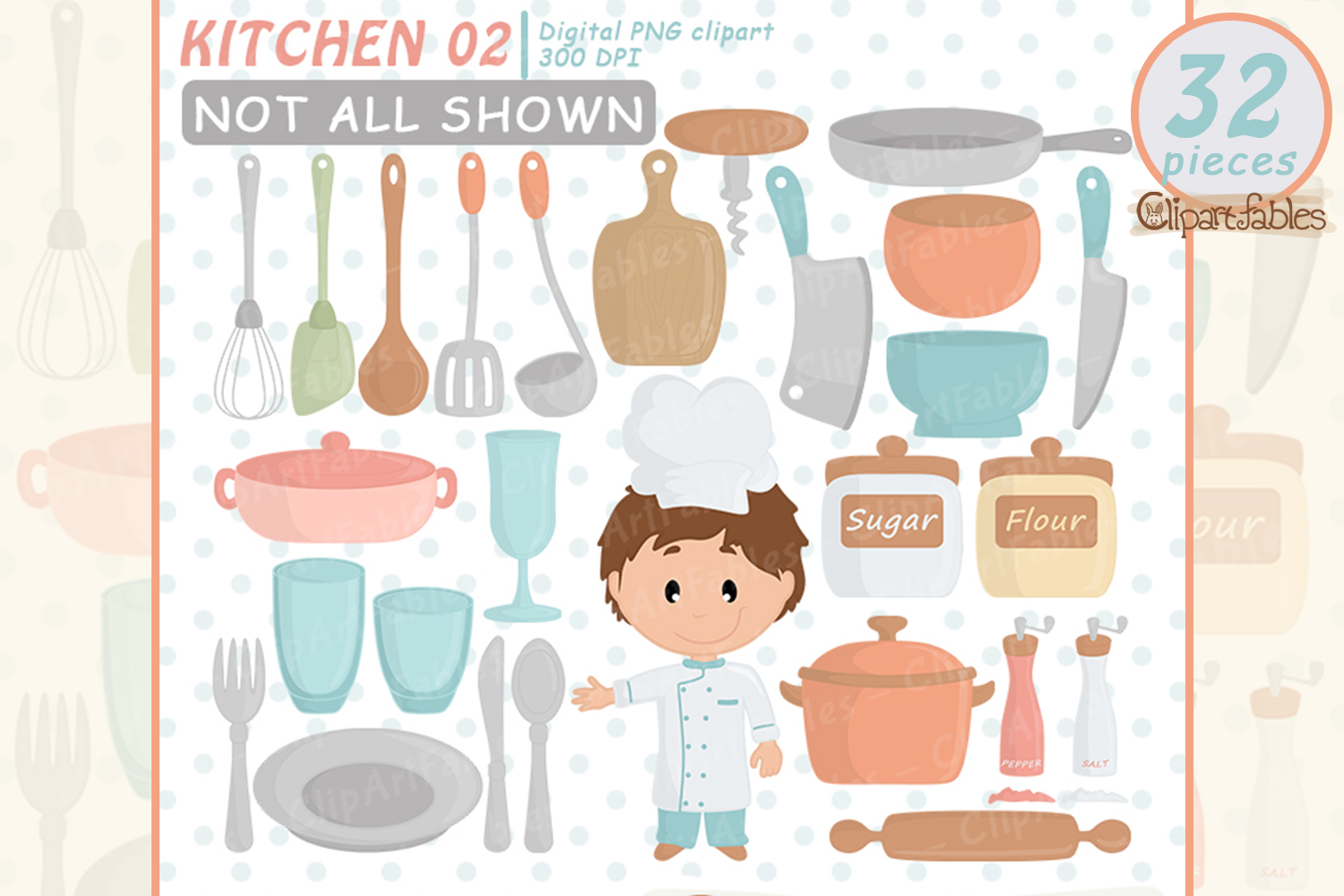 Chef clipart, Kitchen aid, Cute kitchen party, Instant example image 1