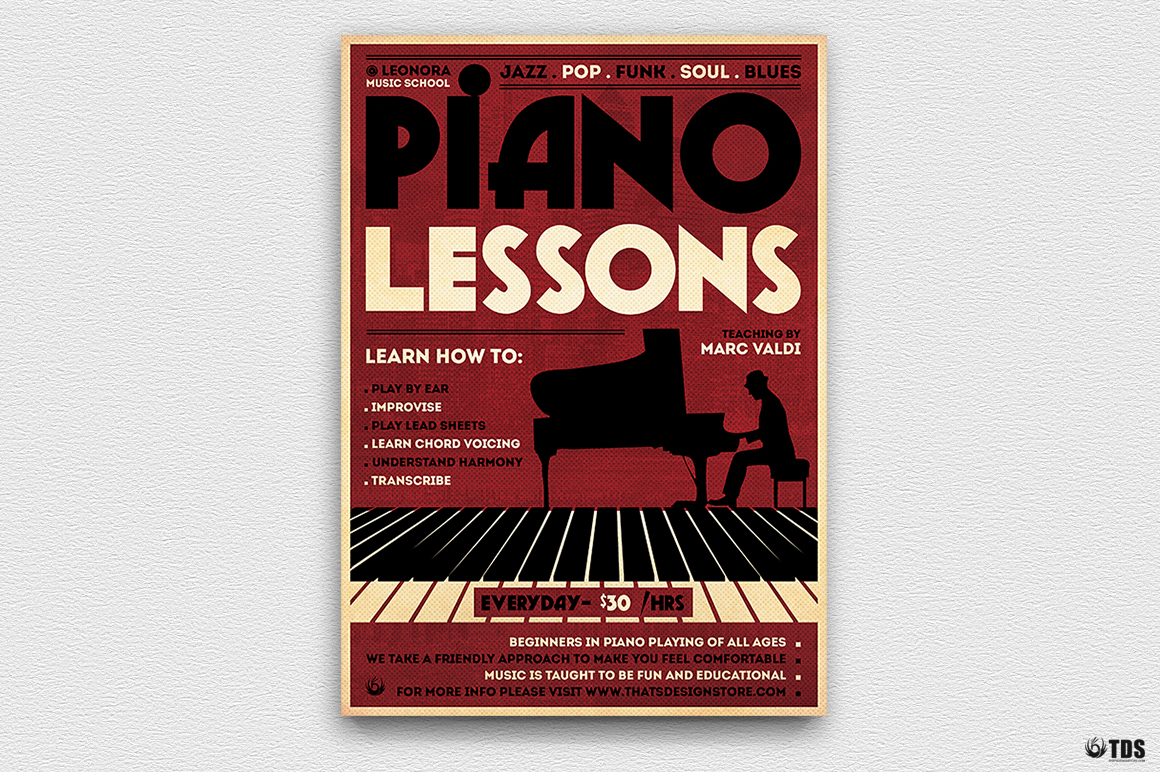 Piano Lessons Flyer Template example image 3