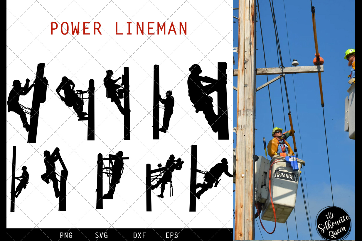 Power Lineman svg file, electrician svg cut file example image 1