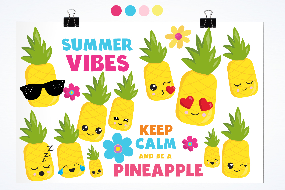 Summer Pineapples graphics and illustrations example image 2
