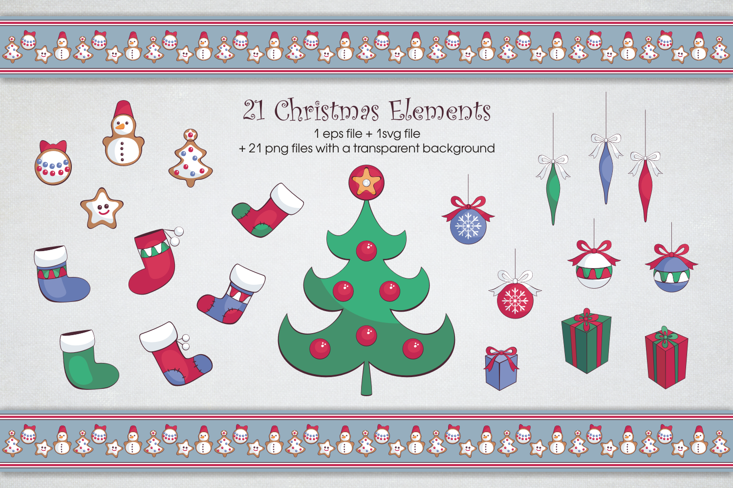 Christmas fun. Vector clip arts and seamless patterns example image 3