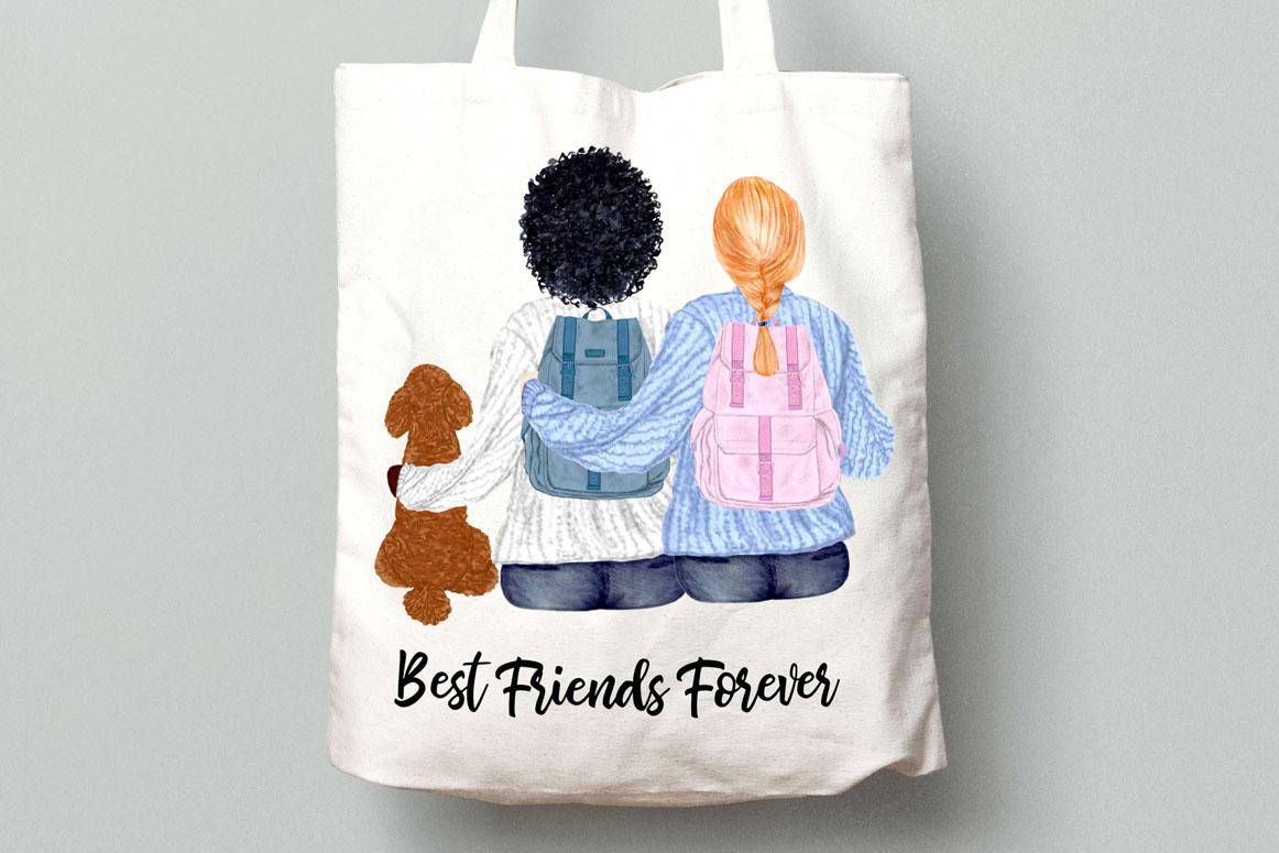 Girls clipart,BEST FRIEND CLIPART,Planner Girls Mug Designs example image 5