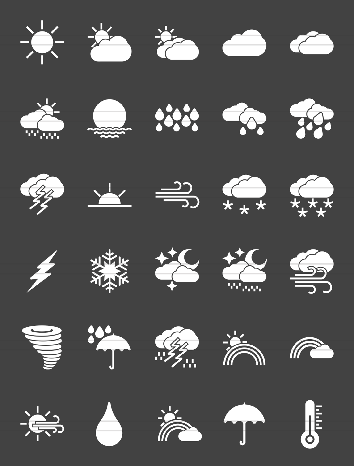 30 Weather Glyph Inverted Icons example image 2