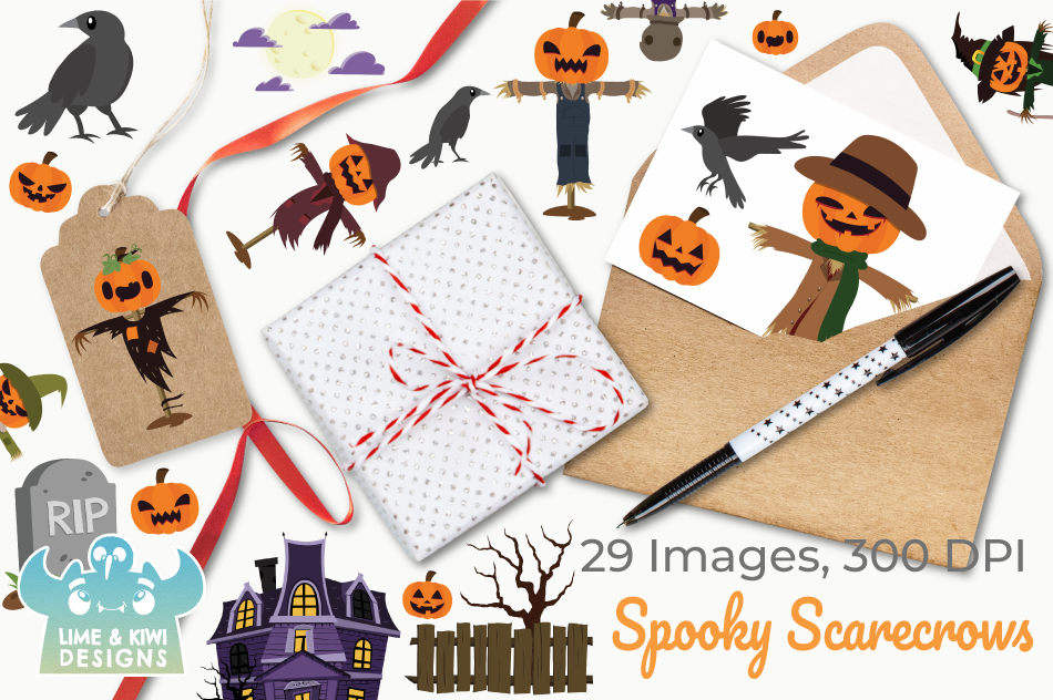 Spooky Scarecrows Clipart, Instant Download Vector Art example image 4