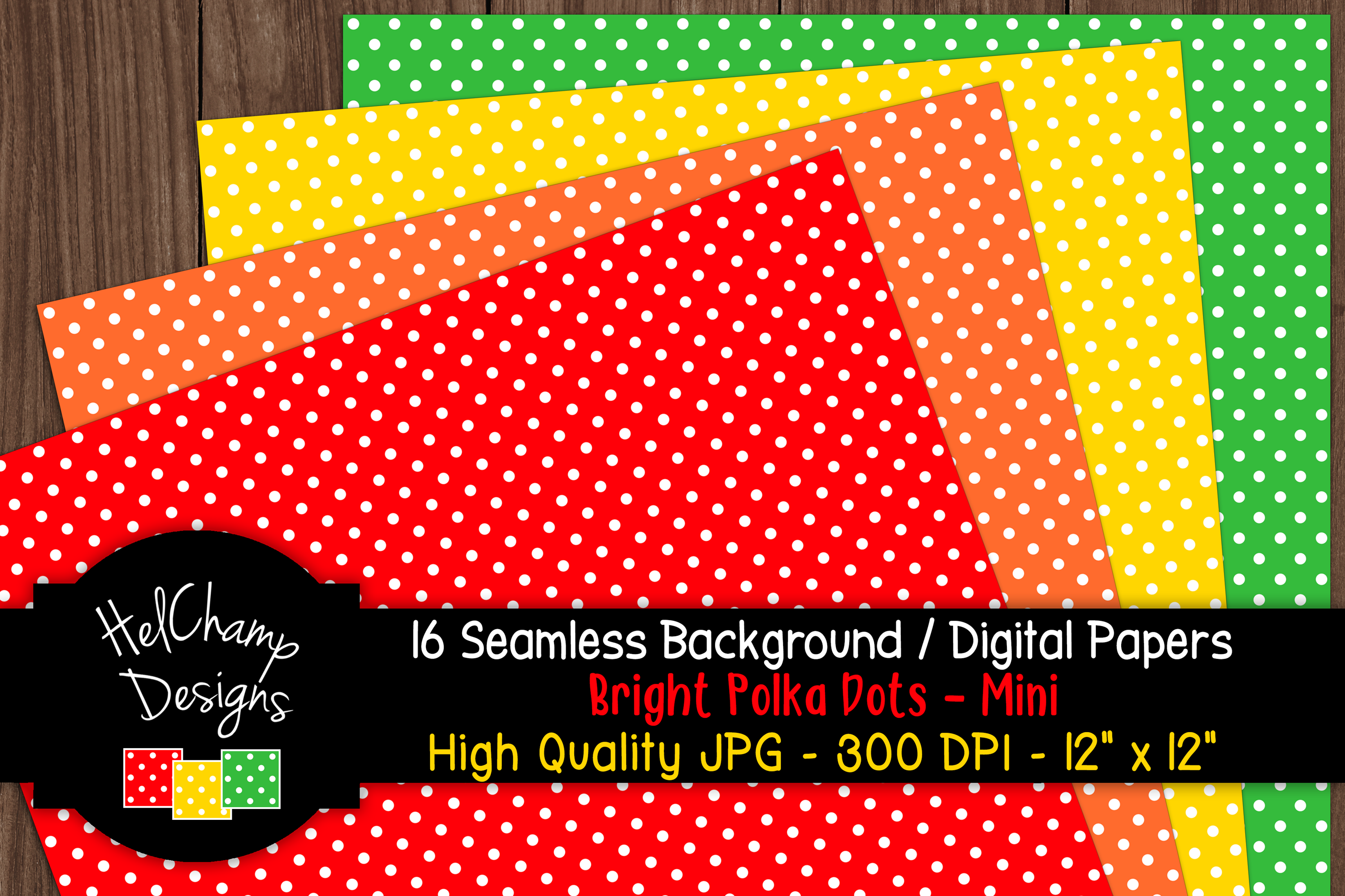 16 seamless Digital Papers - Bright Polka Dots Mini - HC017 example image 3