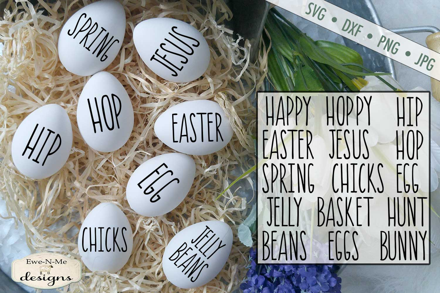 Thin Line Easter Word Bundle Rae Dunn Inspired SVG DXF example image 1