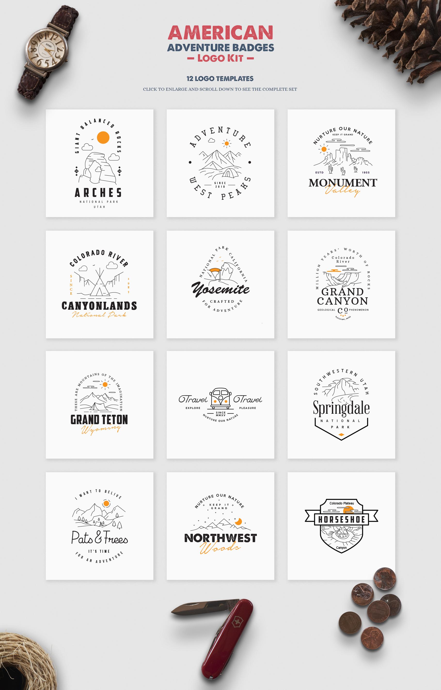 American Adventure Logo Kit / National Park Logos / Mountain example image 3
