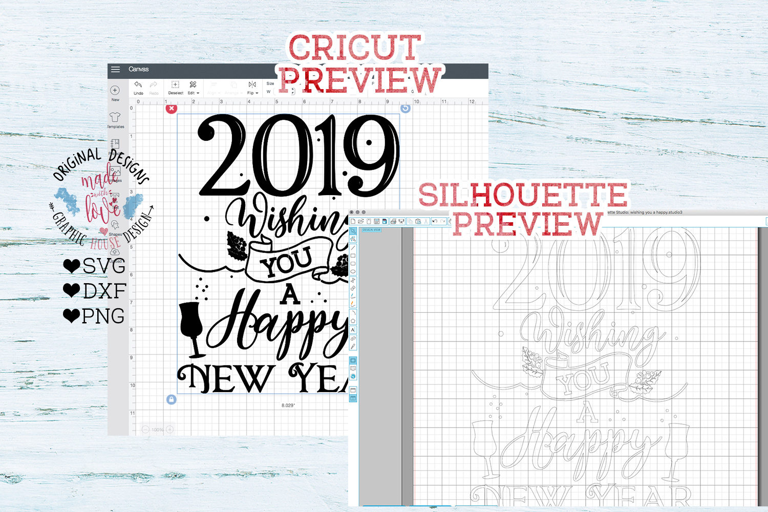 2019 Happy New Year Cut File - 2019 New Year svg example image 2