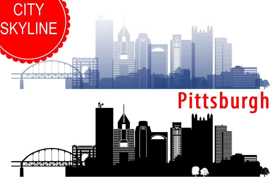 Pittsburgh Vector, Pennsylvania Skyline USA city, SVG, JPG, PNG, DWG, CDR, EPS, AI example image 1