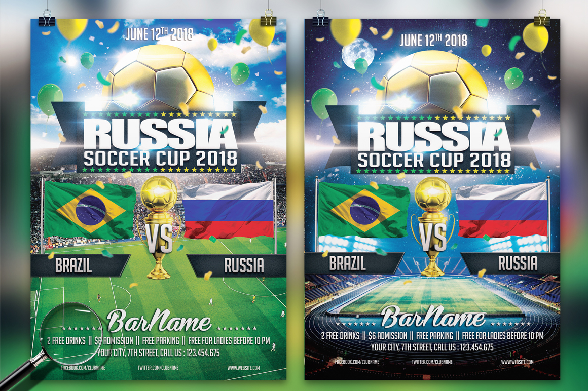 Soccer Russia World Cup 2018 | 2in1 Flyer Template example image 1