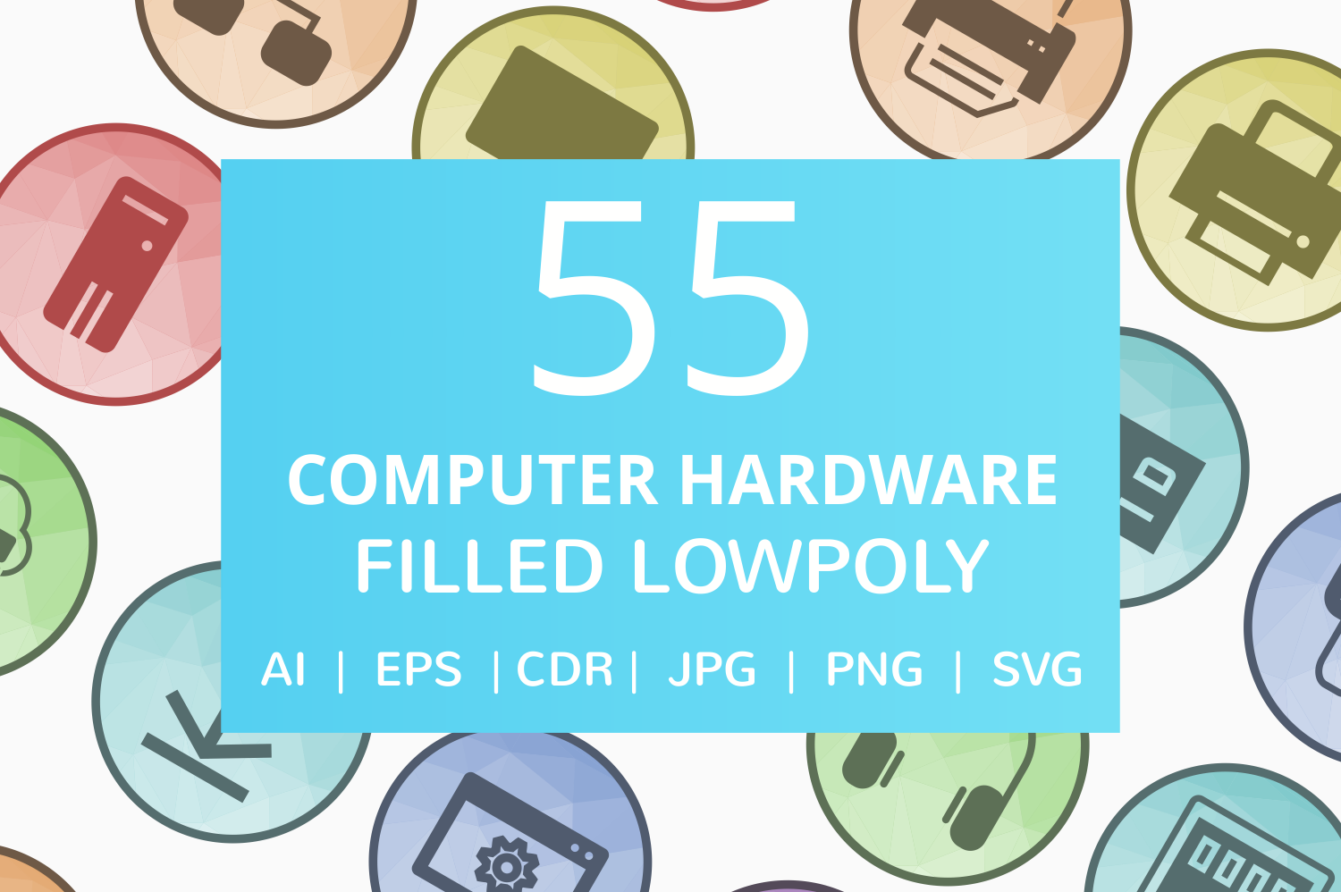 55 Computer & hardware Filled Low Poly Icons example image 1