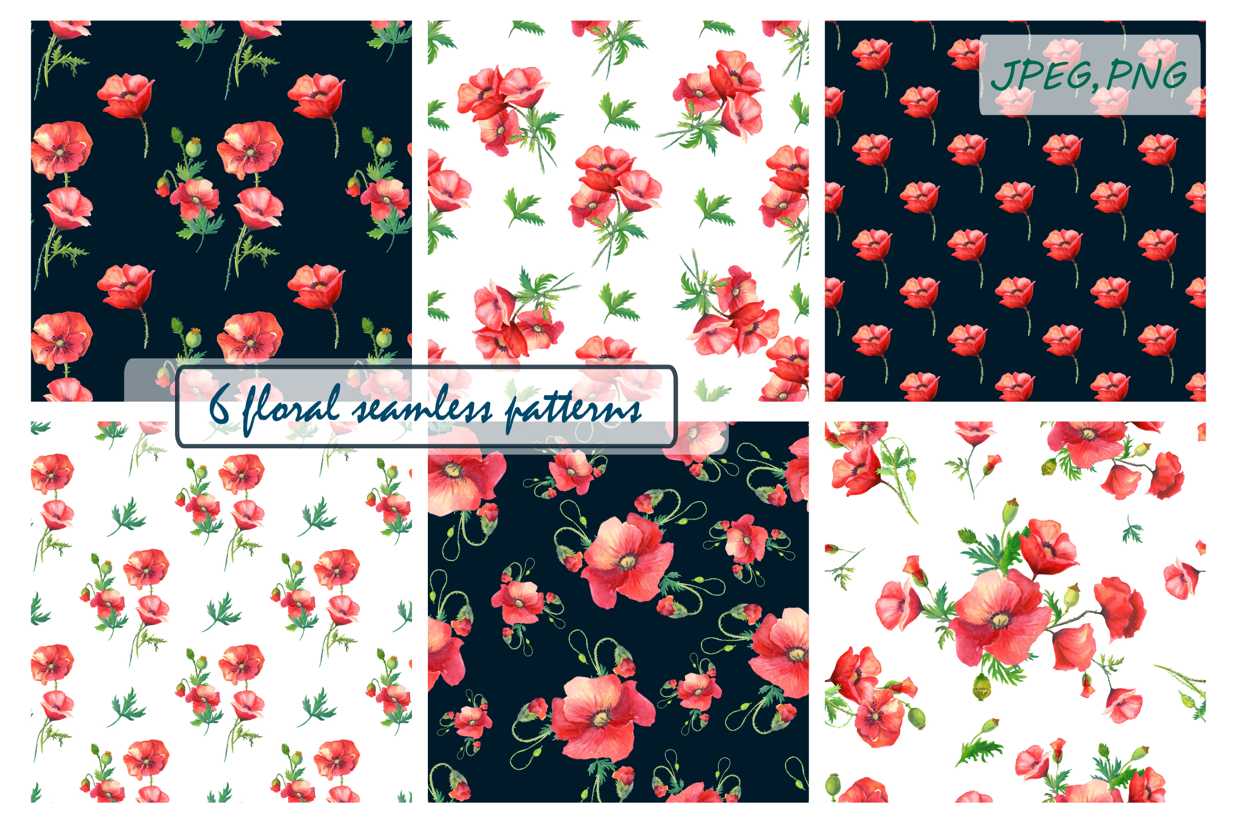Watercolor poppies.Seamless Patterns. example image 1