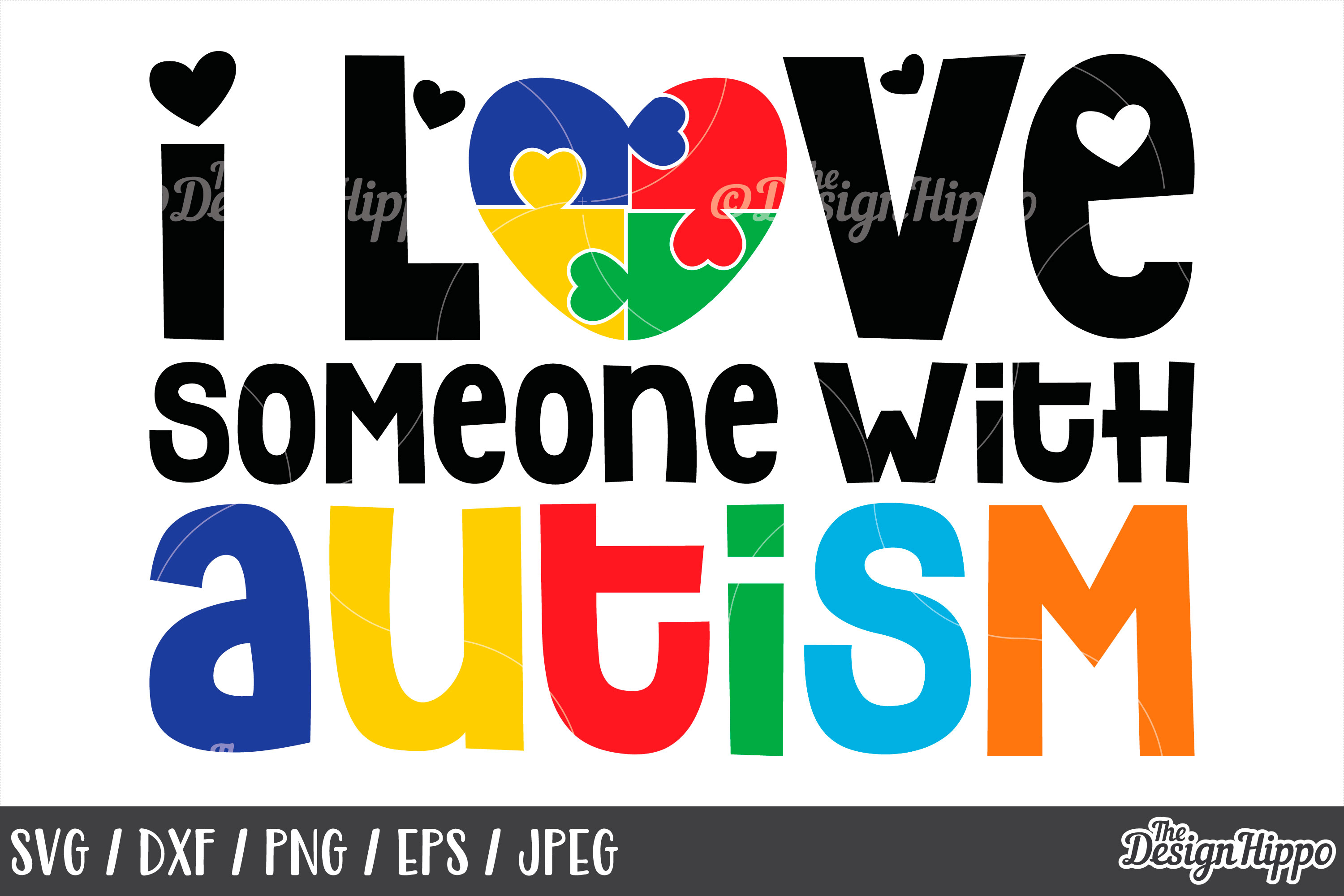 Autism Awareness, I Love Someone With Autism, SVG DXF PNG example image 1