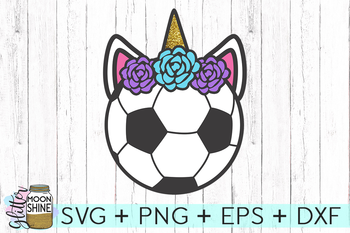 Soccer Ball Unicorn SVG DXF PNG EPS Cutting Files example image 1