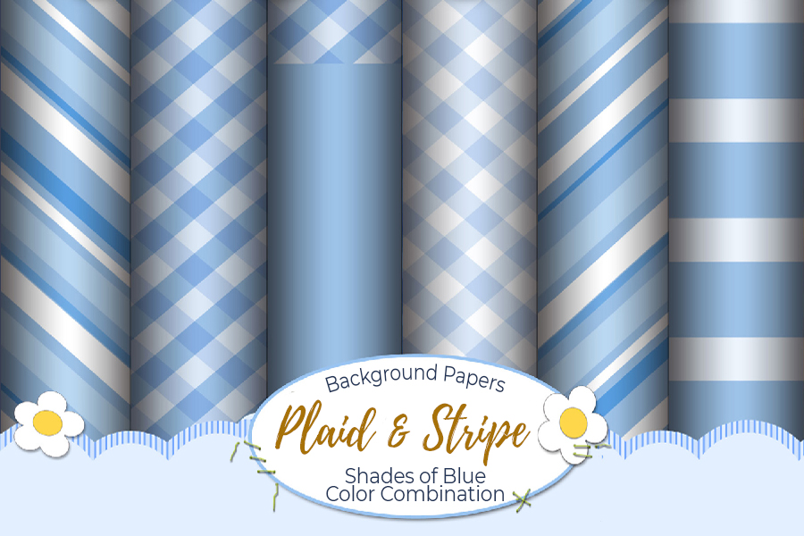 54 Plaid,Stripe & Dots on Blue Shades JPG Background Papers example image 9