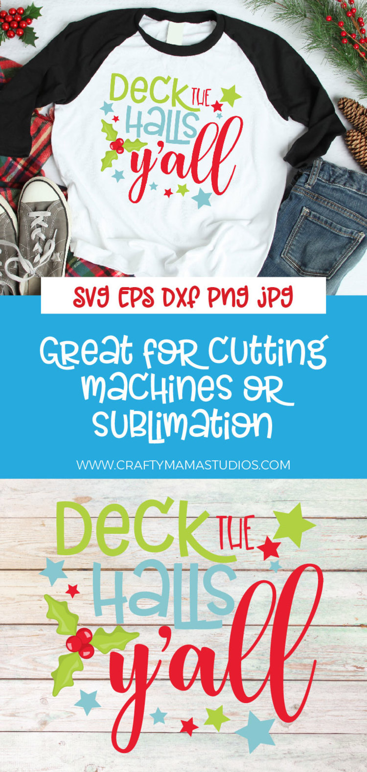 Christmas SVG, Deck The Halls Y'all Sublimation example image 3