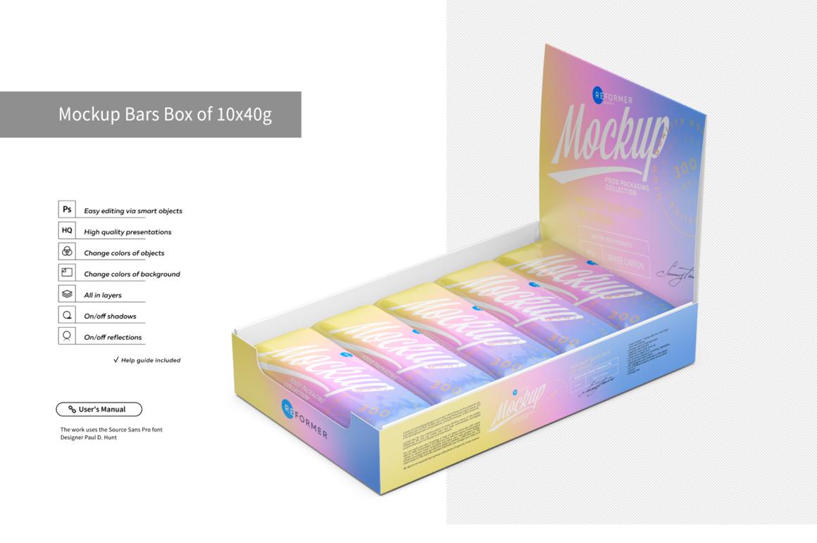 Mockup Bars Box of 10x40g example image 1