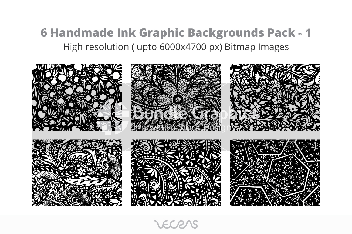 Handmade Ink Graphic Bitmap Images Pack -1 example image 1