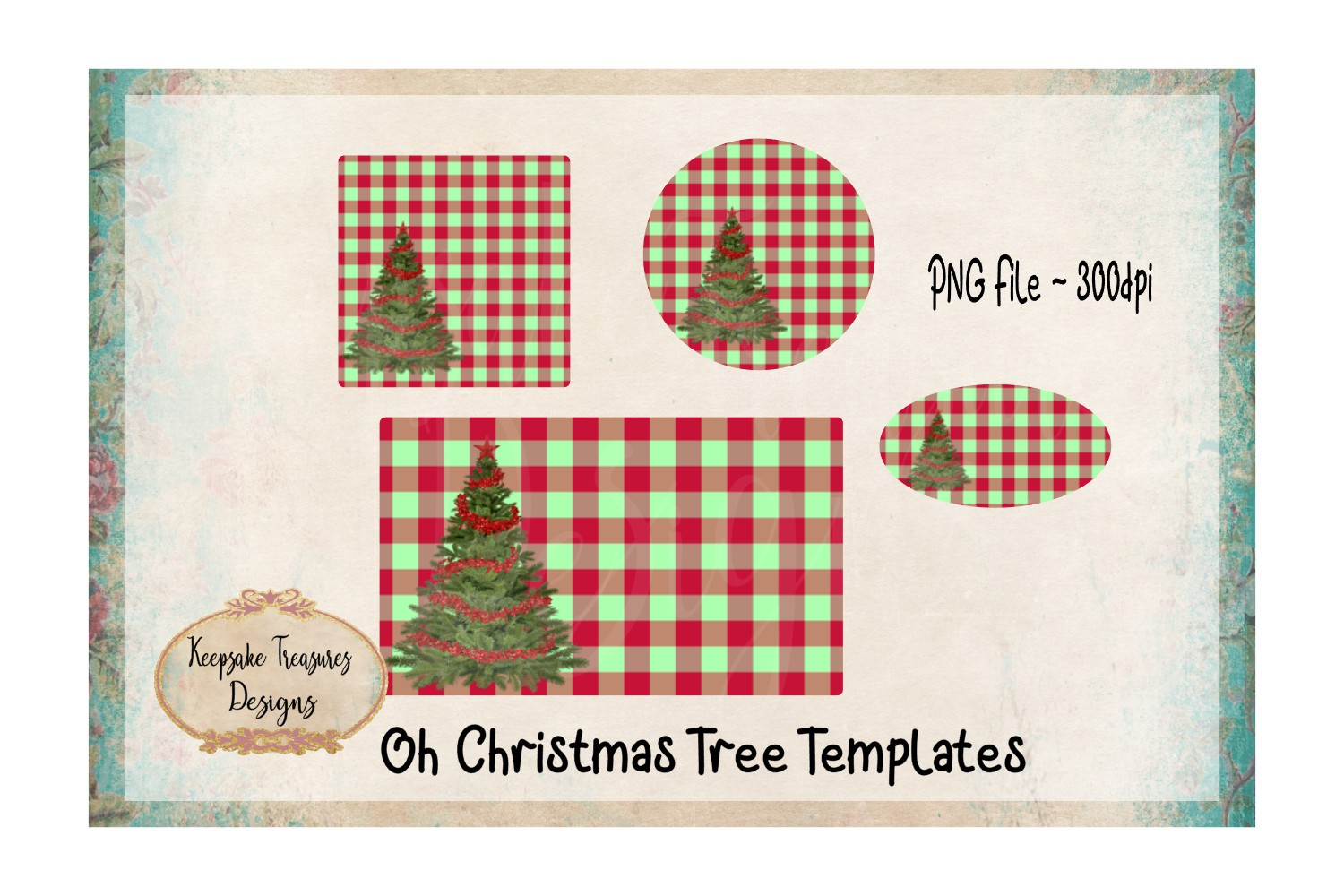 Red and Green Checker Christmas Tree Sublimation Template example image 1