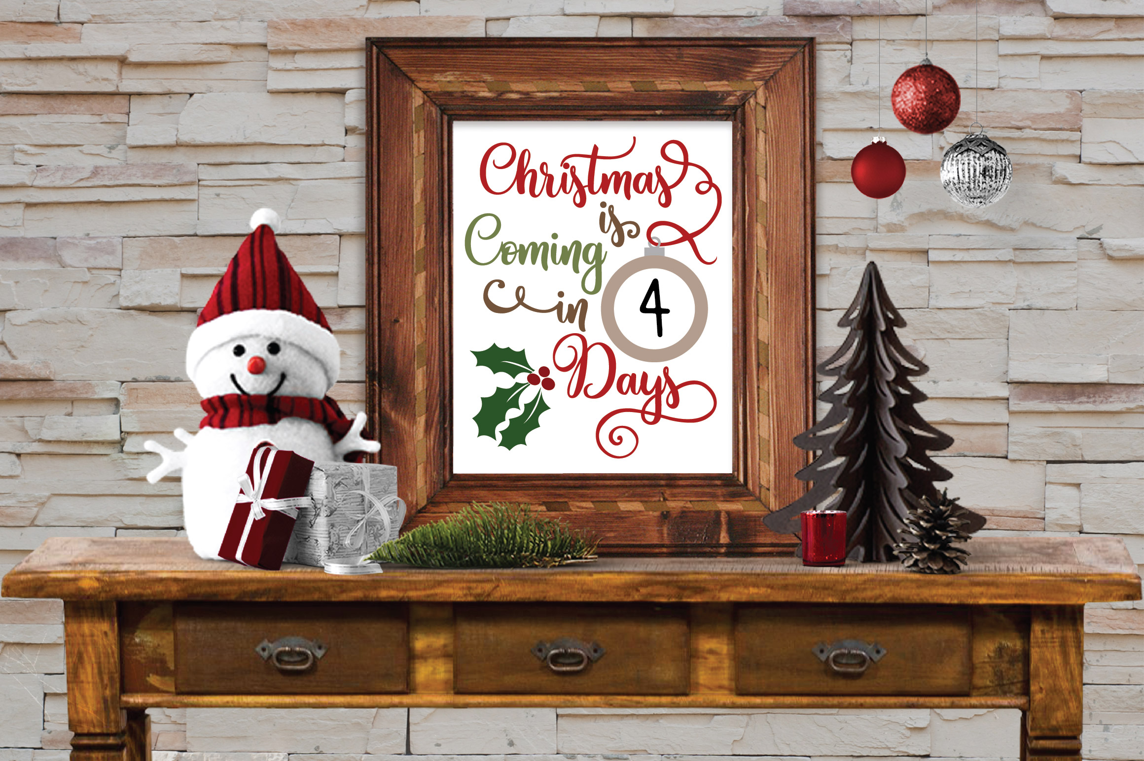 Christmas Countdown SVG Cut File - Christmas Ornament SVG example image 2