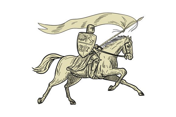 Knight Riding Horse Shield Lance Flag Drawing example image 1
