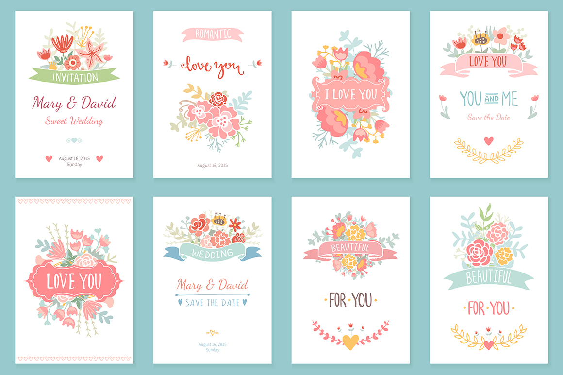 24 Romantic & Wedding Cards Template example image 2