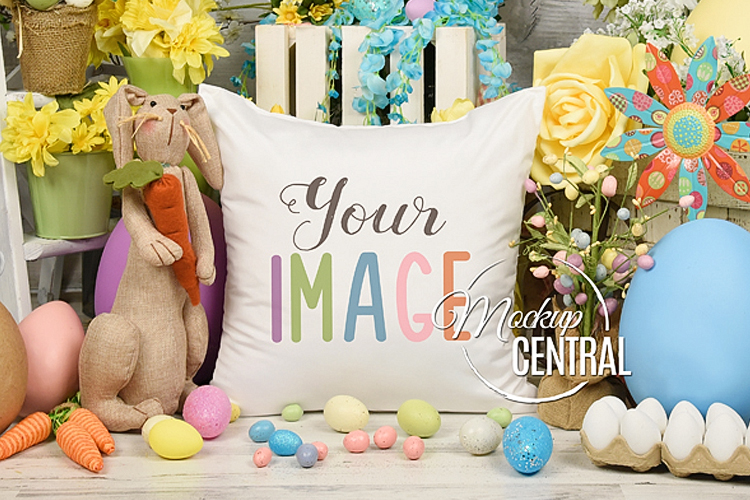 Blank White Square Easter Egg Spring Mockup Pillow JPG example image 1