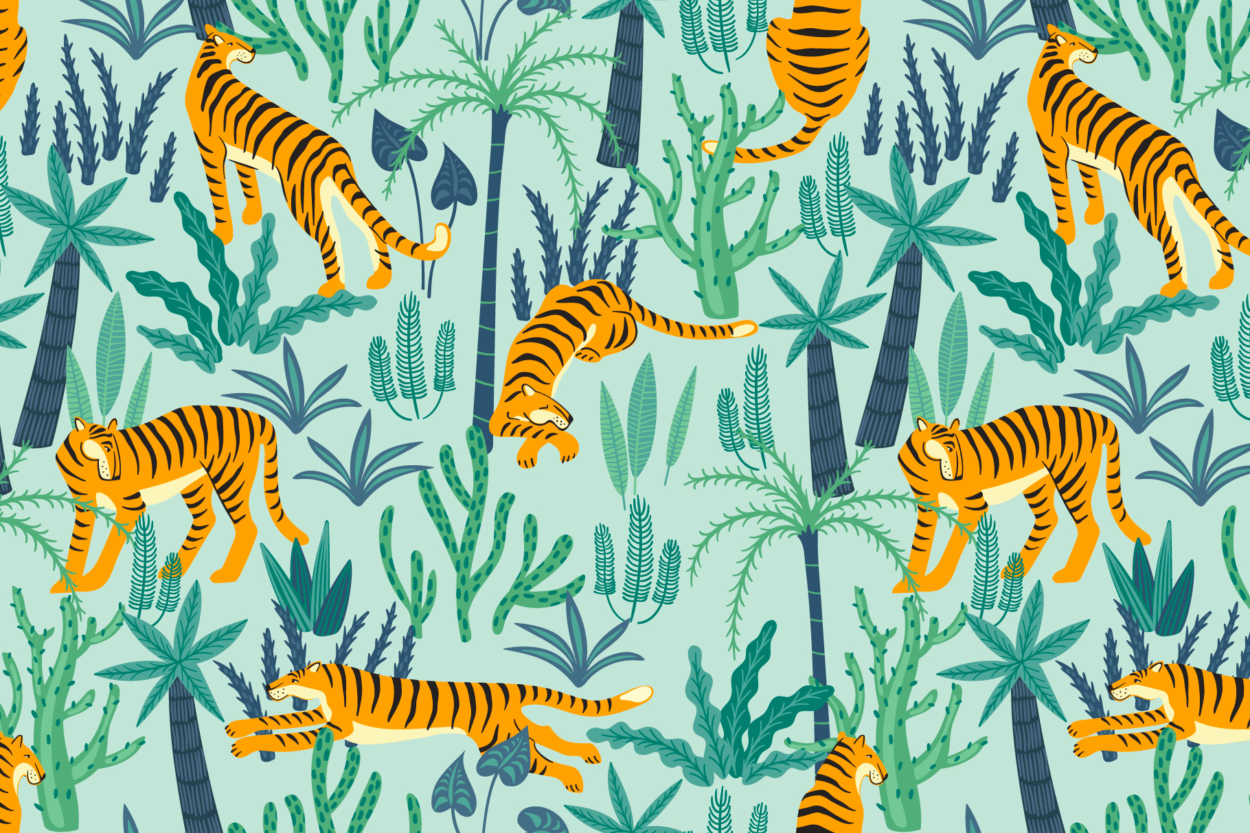 Tiger collection. Patterns & clipart example image 4