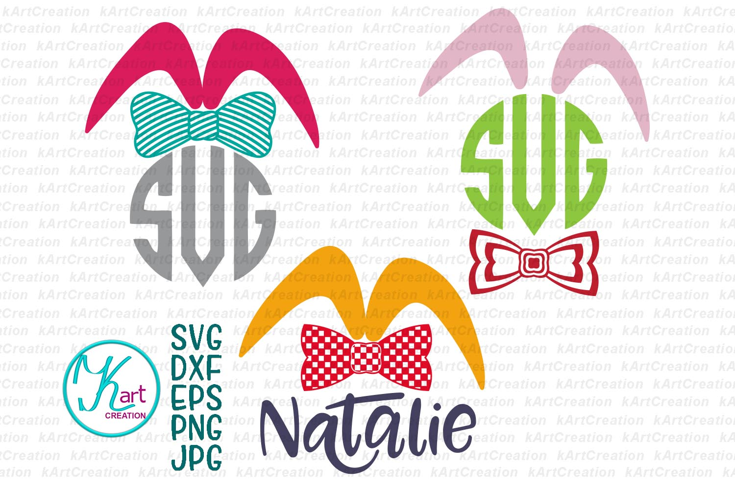 Bunny ears eggs kid monogram bundle set svg dxf clipart png example image 4