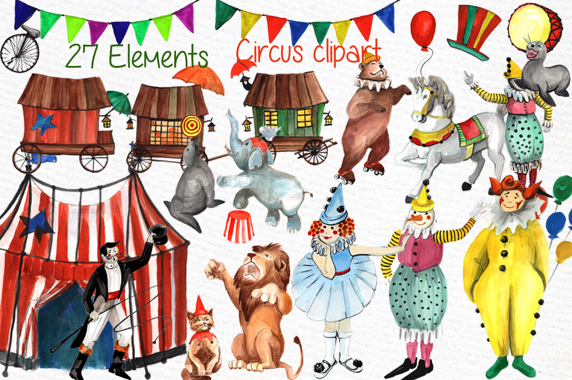 Watercolor circus clipart example image 1