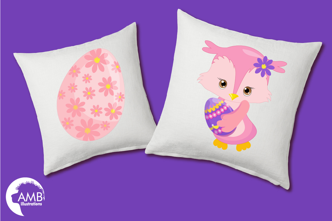 Easter Owls clipart, graphics, illustrations AMB-1818 example image 3