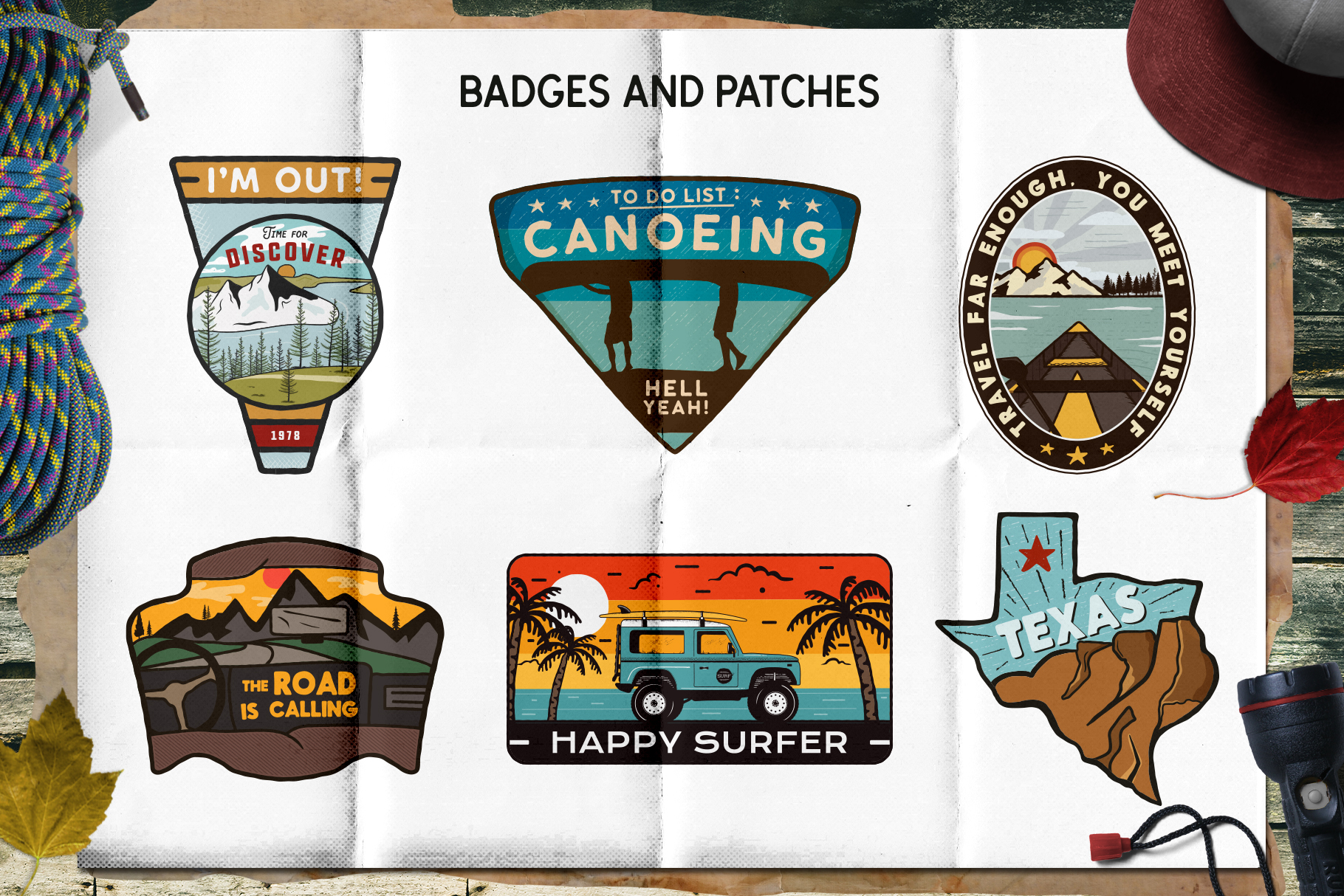 Retro Camp Badges / SVG Patches and Stickers. Part 2 example image 3