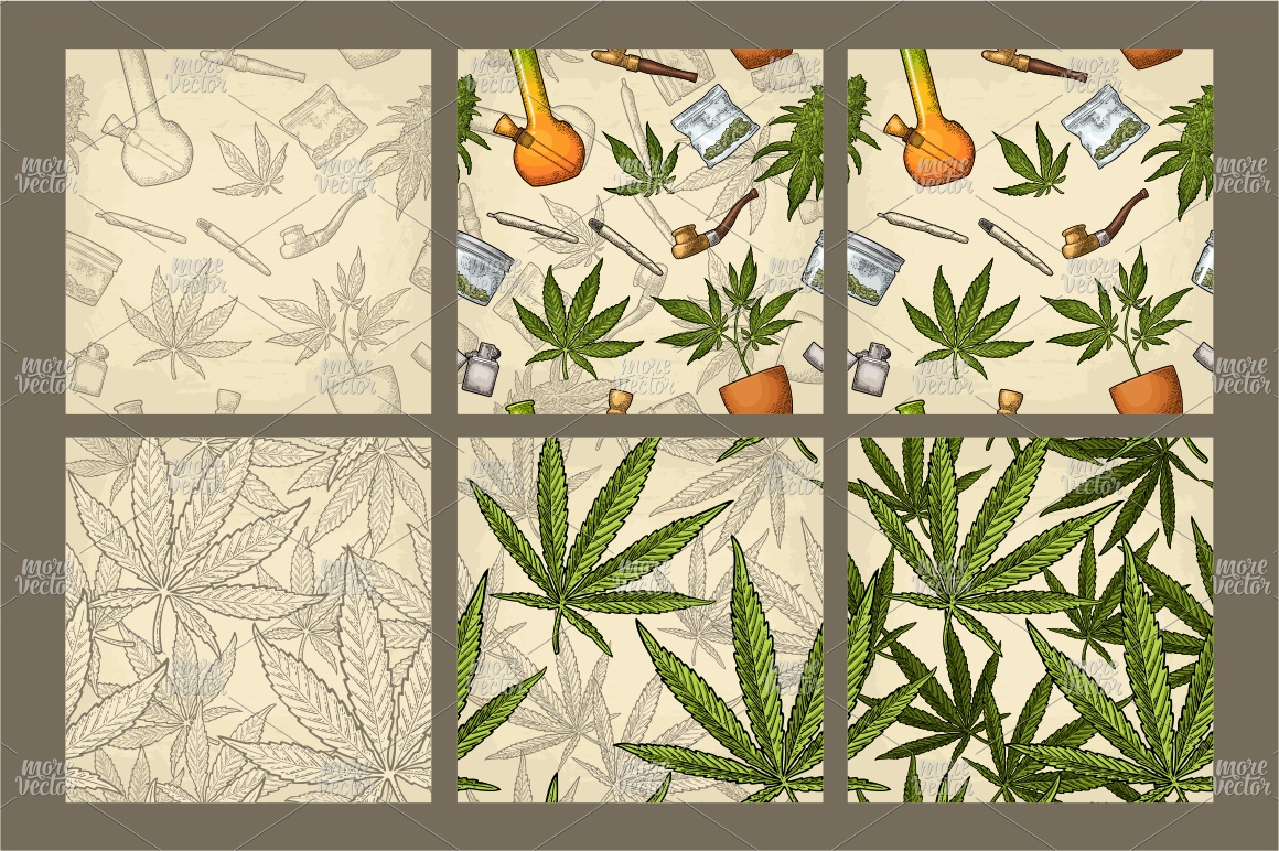 Marijuana Cigarette pipe bud hand leaf. Engraving example image 4