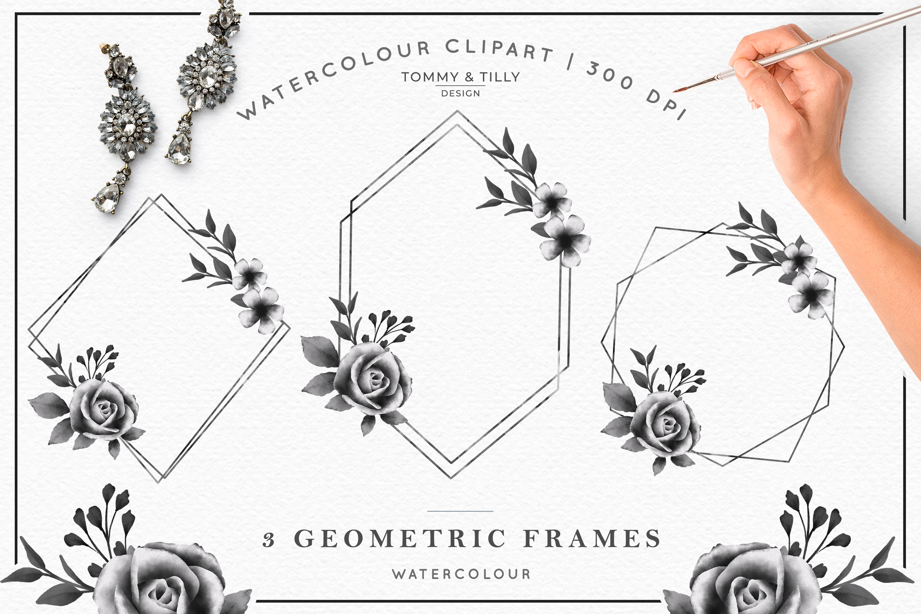 Watercolour Black Floral Collection - Wedding Clipart PNG example image 4