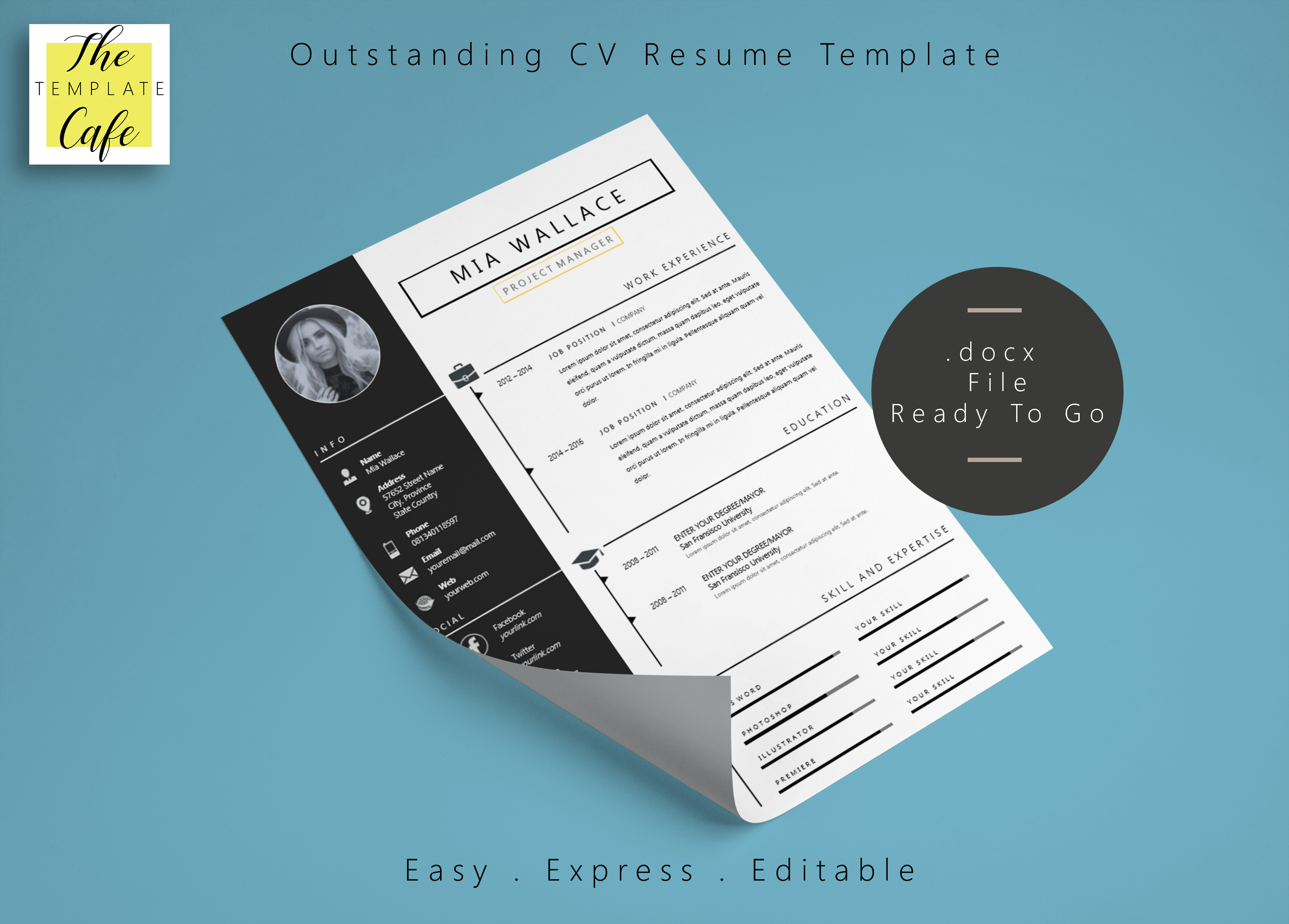 elegant minimalistic resume template with ms word