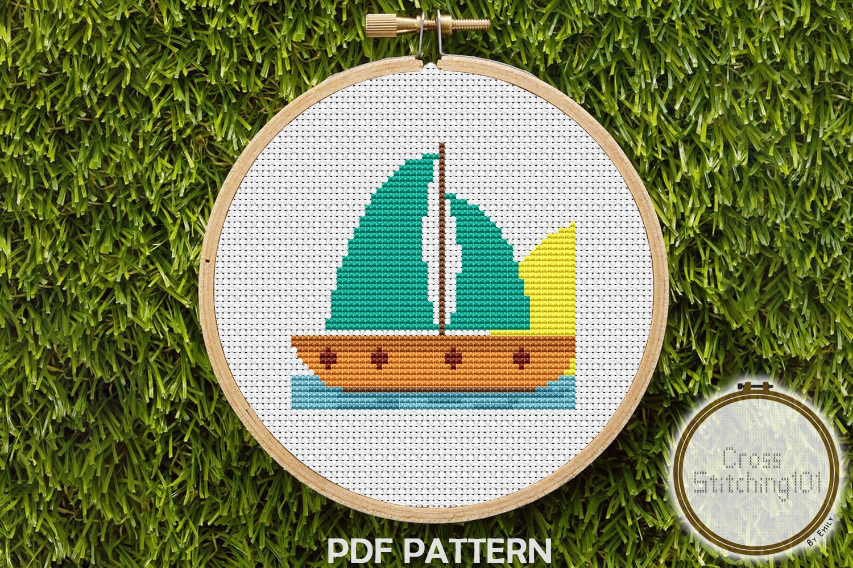 Aqua Sail Boat Cross Stitch Pattern - Instant Download PDF example image 1