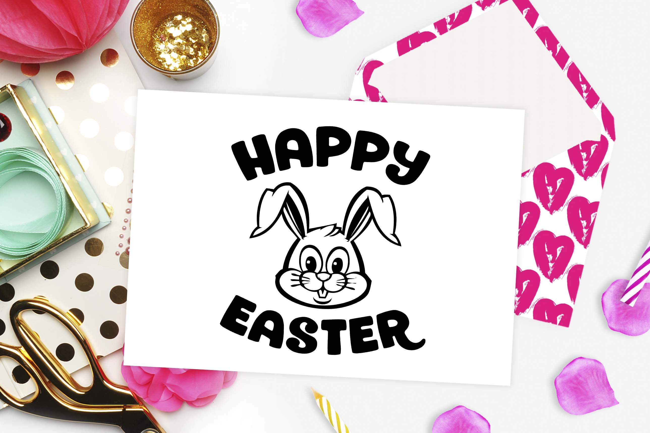 Happy Easter bunny SVG DXF EPS PNG example image 2