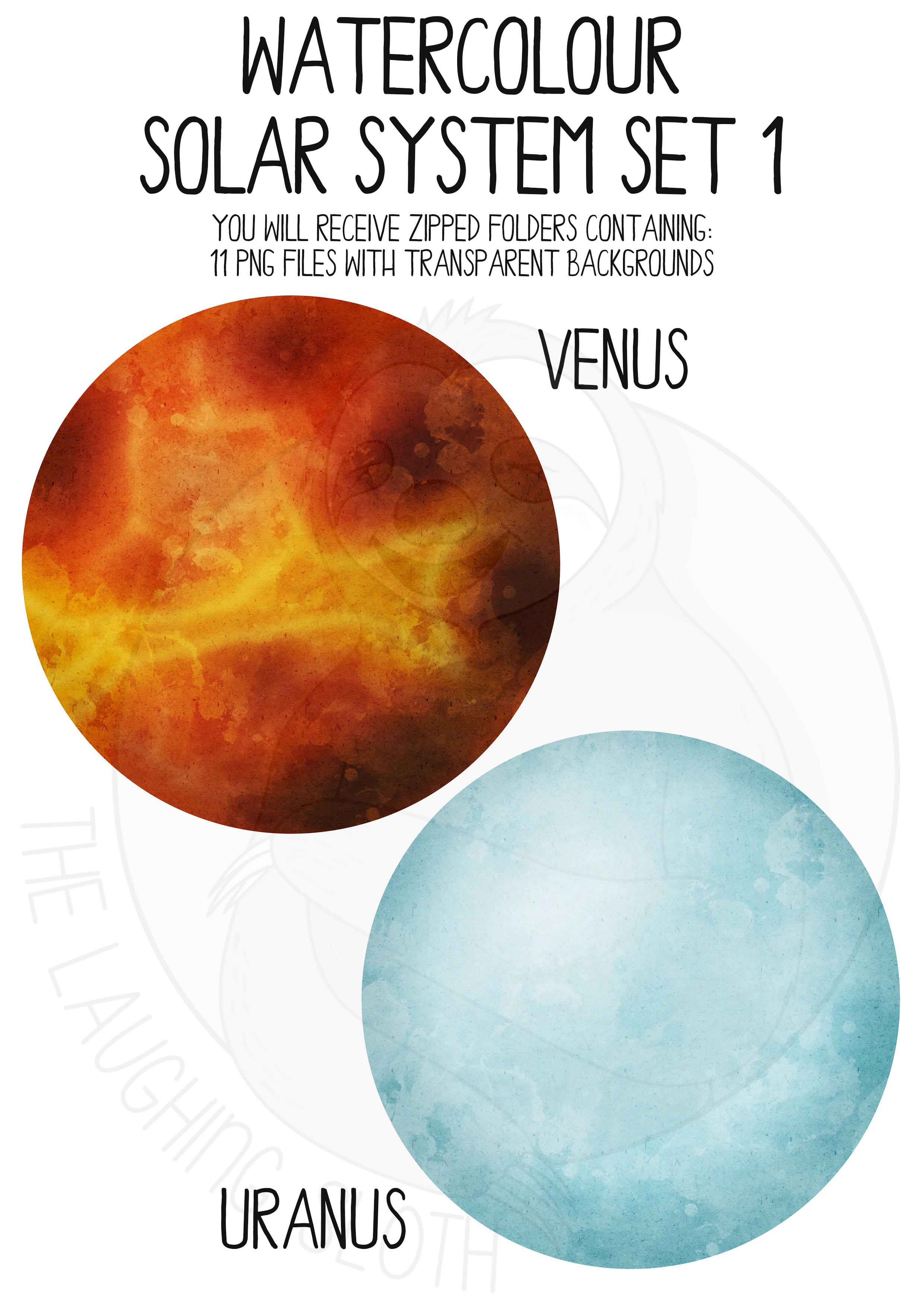 Watercolor Solar System Clip Art Set example image 6