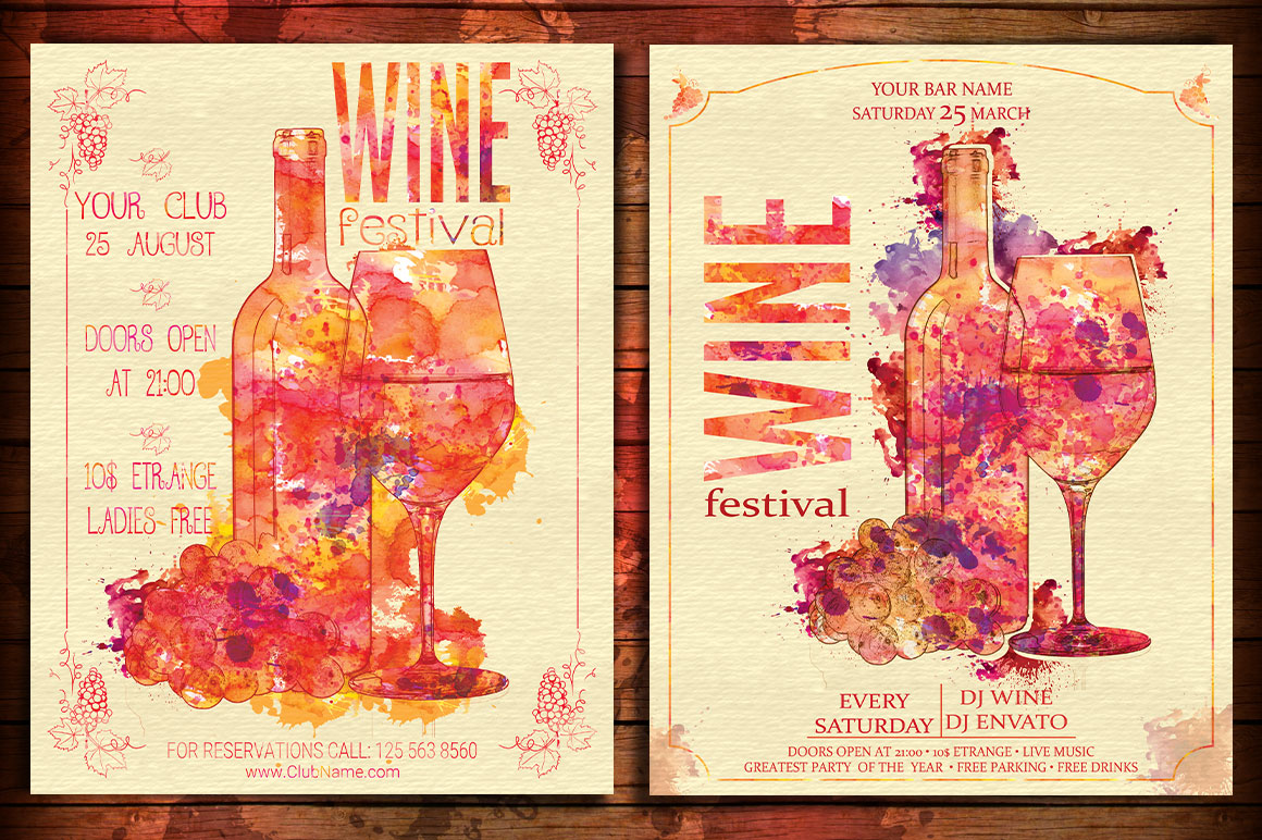Wine Festival Flyer Poster Vintage example image 3